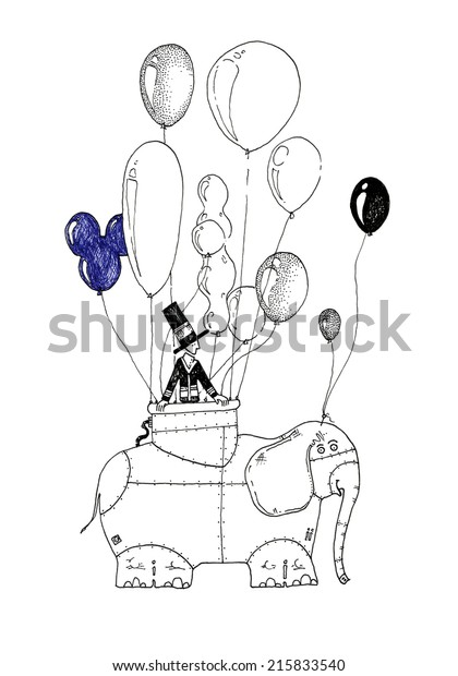 Fantastic Drawing Hot Air Balloon Elephant Stock Illustration 215833540
