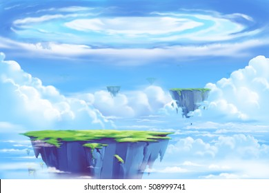 Fantastic and Exotic Allen Planet's Environment: The Floating Island in the Clouds Sea. Video Game's Digital CG Artwork, Concept Illustration, Realistic Cartoon Style Background