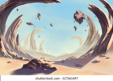 Fantastic and Exotic Allen Planet's Environment: Storm Eye Desert. Video Game's Digital CG Artwork, Concept Illustration, Realistic Cartoon Style Background