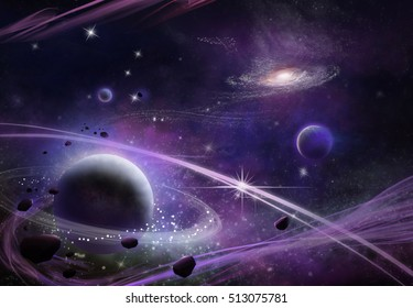 Fantastic and Exotic Star Field. Video Game's Digital CG Artwork, Concept Illustration, Realistic Cartoon Style Background