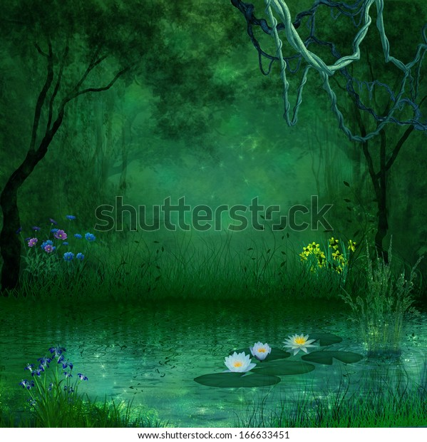 幻想的な森と川 のイラスト素材