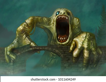 Fantastic green creature on the bridge with blue background