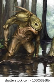 Fantastic green creature in the swamp