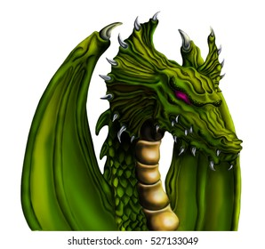 Fantastic Green Dragon with evil red eyes