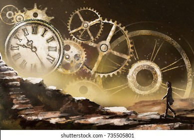 Fantastic illustration with clock and mechanism, stars. Man going on mountain. Fantasy surrealism, painting landscape. gold steam punk background. Time