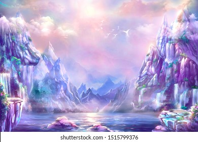 Fantastic landscape, digital art. Illustration of a  dawn mountain with waterfalls and birds.