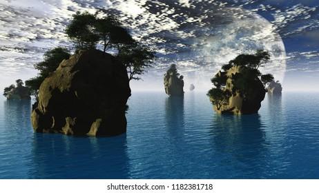 Fantastic landscape. Large moon and islets. 3D rendering