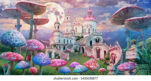 "fantastic landscape with mushrooms, beautiful old castle and moon. illustration to the fairy tale ""Alice in Wonderland"""