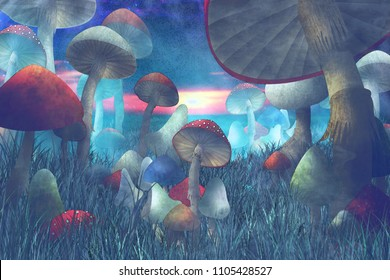 "fantastic landscape with mushrooms and fog. illustration to the fairy tale ""Alice in Wonderland"""