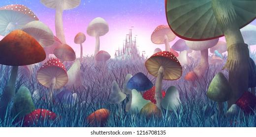 キノコと霧のある幻想的な風景。 おとぎ話「不思議の国のアリス」のイラスト