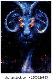 A fantastic lion with four glosses horns, gracefully approaches the viewer looking straight into the frame with its bright orange eyes. 2D illustration