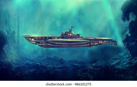 Fantastic pirate submarine in the underwater environment. Digital art, raster illustration.