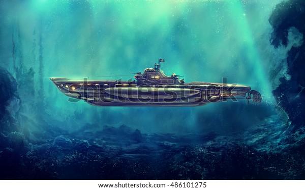 Фантастическая пиратская подводная лодка в подводной среде. Цифровое искусство, растровые иллюстрации.
