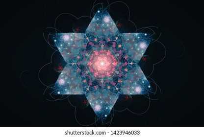 Fantastic six-pointed star of blue color with the effect of frost and pink middle on a black background with lines around.