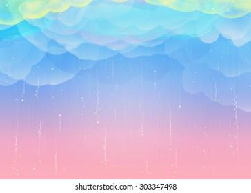 Fantastic sky and rain of rainbow colors
