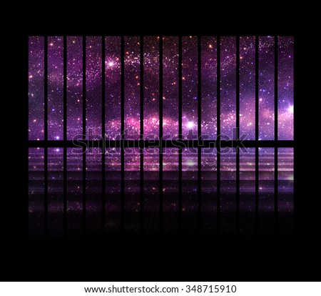 Fantastic Space Background Windows Follow Spaceship Stock