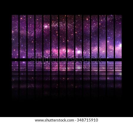Fantastic Space Background Windows Follow Spaceship Stock