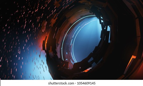 Fantastic space station.Closeup Dyson sphere. Cosmic abstract background 3d render illustration