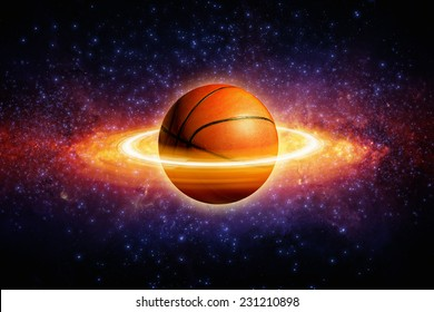 Fantastic sports background - basketball in space looks like planet with rings. Elements of this image furnished by NASA