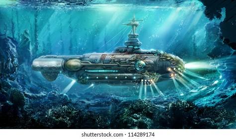Fantastic submarine in sea. Concept art.