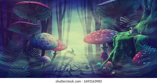 fantastic wonderland forest landscape with road, mushrooms, ferns. white rabbit runs in the fog among the trees. illustration