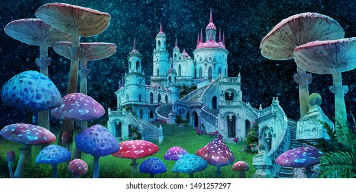 """fantastic wonderland landscape with mushrooms, beautiful old castle and moon. illustration to the fairy tale """"Alice in Wonderland"""""""