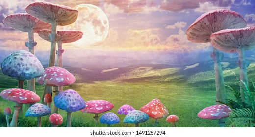 "fantastic wonderland landscape with mushrooms and moon. illustration to the fairy tale ""Alice in Wonderland"""