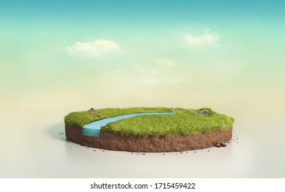 Fantasy 3D rendering circle podium grass field with river, surreal 3D Illustration round soil cutaway cross section isolated on pastel cyan twilight sky