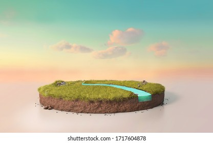 Fantasy 3D rendering circle podium grass field with river, surreal 3D Illustration round soil cutaway cross section isolated on pastel cyan dusk sky