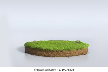 Fantasy 3D rendering circle podium grass field, paradise 3D Illustration round soil mockup cross section isolated on white empty space