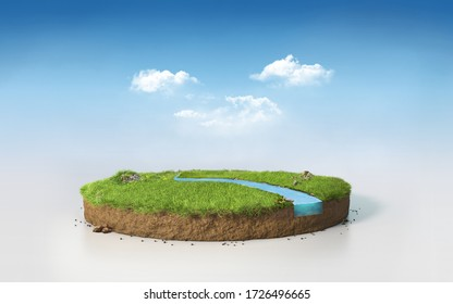 Fantasy 3D rendering circle podium grass field with river, surreal 3D Illustration round soil cutaway cross section isolated on sunny blue afternoon sky