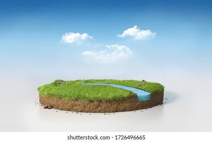 明るい青の午後の空に分かれた土の切り取り線の横断面に、川を持つ芝草の原盤を描くファンタジー3Dレンダリング円、超現実の3Dイラスト
