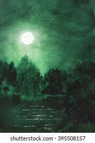 Fantasy abstract watercolor hand painted landscape background with moon, forest and lake or river with glare on the water. Textured paper.