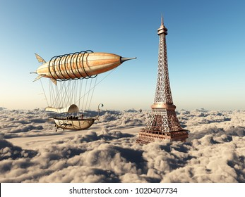 Fantasy airship and Eiffel Tower over the clouds Computer generated 3D illustration