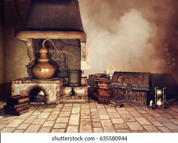 Fantasy alchemist's stove, books, chest, and other objects. 3D illustration.