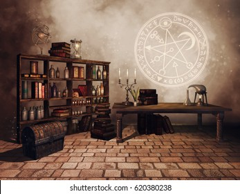 Fantasy alchemist's study room with candles, books, bottles and alchemical symbols. 3D illustration.