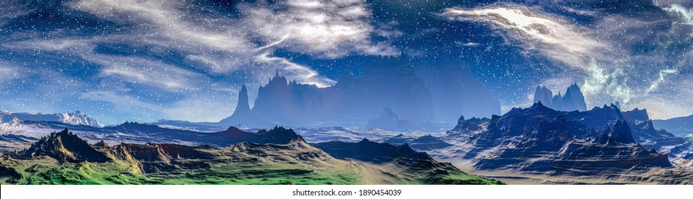 Fantasy alien planet. Mountain. Panorama. 3D illustration