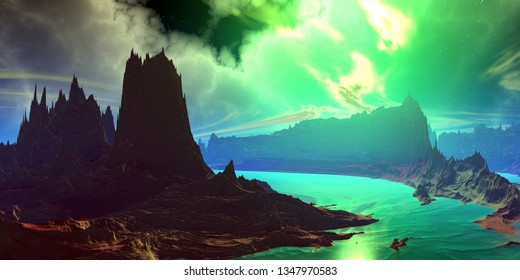 Fantasy alien planet. Mountain and water. 3D illustration