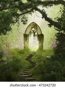 Fantasy antique gate and stair in a beautiful forest