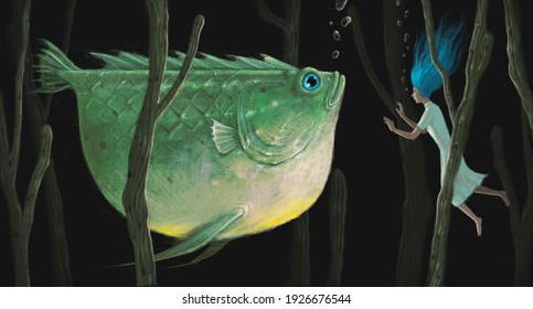 Fantasy art , Animal conceptual artwork, woman with giant fish, surreal painting, 3d illustration dream and imagination concept, mystery of nature