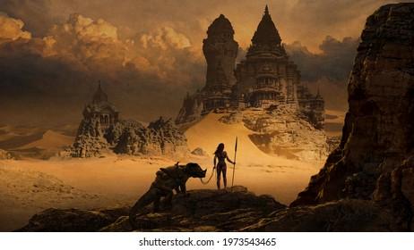 Fantasy art landscape with desert temple - digital illustration