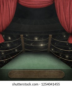 Fantasy Background of fencing competition, theater scene