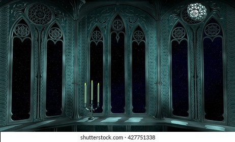 Fantasy balcony with chandelier at night 3D Illustration