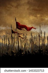 Fantasy battle scene with rised spears and flags on the sunset illustration