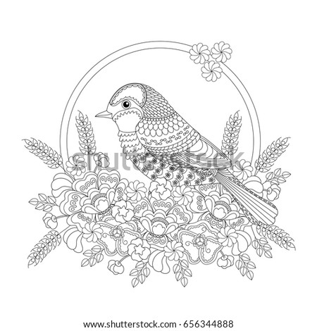 Fantasy Bird Flowers Coloring Book Adults Stock Illustration