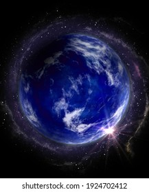 Fantasy blue planet with shiny star and milky way backdrop stars, comic 3d illustration of earth, galaxy and speed beams