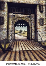 Fantasy bridge and gate in an old castle. 3D illustration.