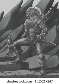 Fantasy Brutal orc warrior with weapon without color monochrome