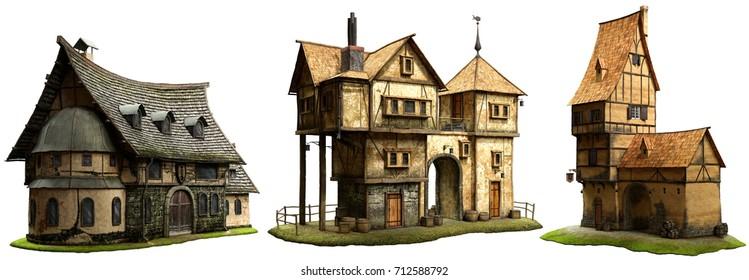 Fantasy buildings  3D illustration