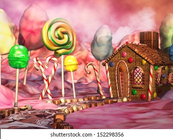 Fantasy candy land with chocolate and gingerbread house